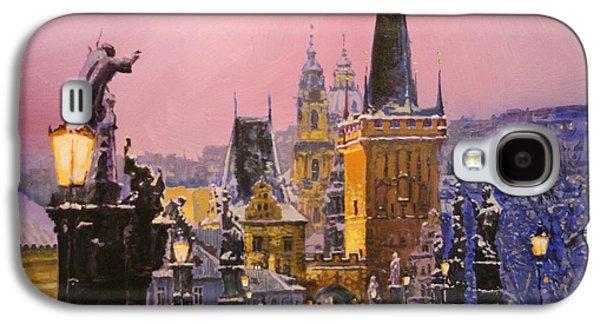 Prague Charles Bridge  Winter Evening Galaxy S4 Case by Yuriy Shevchuk