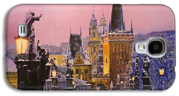 Winter Light Paintings Galaxy S4 Cases - Prague Charles Bridge  Winter Evening Galaxy S4 Case by Yuriy Shevchuk
