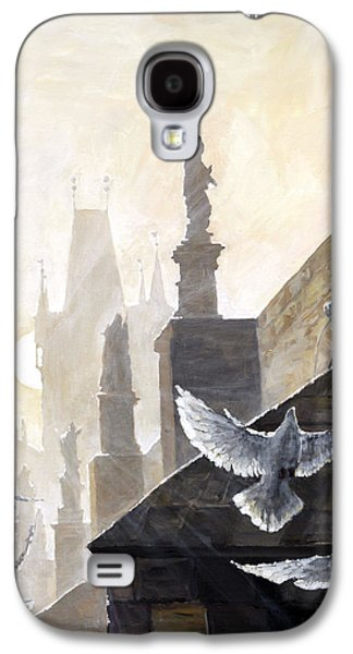 Morning Light Paintings Galaxy S4 Cases - Prague Morning on the Charles Bridge  Galaxy S4 Case by Yuriy Shevchuk