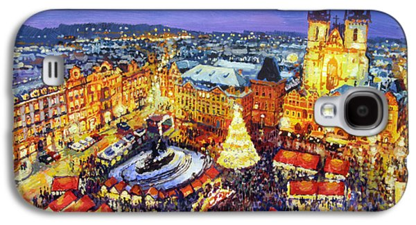 Expressionism Galaxy S4 Cases - Prague Old Town Square Christmas Market 2014 Galaxy S4 Case by Yuriy Shevchuk