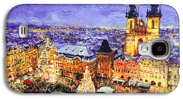 Town Paintings Galaxy S4 Cases - Prague Old Town Square Christmas market Galaxy S4 Case by Yuriy Shevchuk