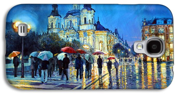 Town Paintings Galaxy S4 Cases - Prague Old Town Square  view of street Parizska and St.Nicolas church Galaxy S4 Case by Yuriy Shevchuk
