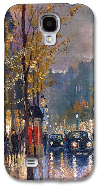 Rain Paintings Galaxy S4 Cases - Prague Old Vaclavske Square 01 Galaxy S4 Case by Yuriy  Shevchuk
