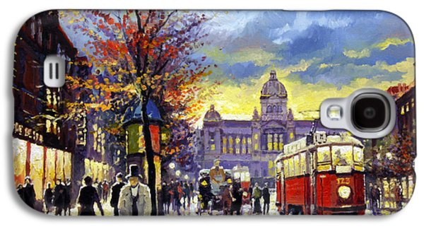 Light Galaxy S4 Cases - Prague Vaclav Square Old Tram Imitation by Cortez Galaxy S4 Case by Yuriy  Shevchuk
