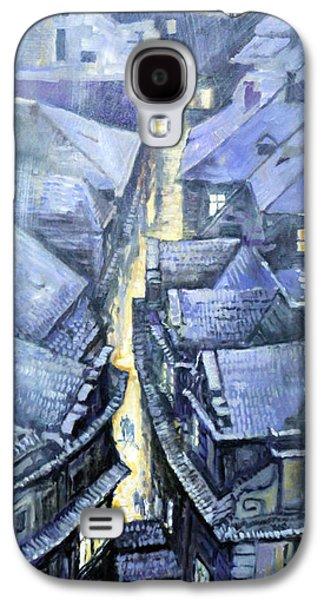 Winter Light Paintings Galaxy S4 Cases - Prague Winter Melantrihova str Galaxy S4 Case by Yuriy Shevchuk