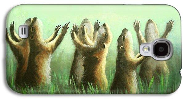Dog Framed Prints Digital Art Galaxy S4 Cases - Praising Prairie Dogs Galaxy S4 Case by Anthony Falbo