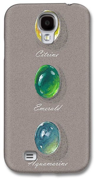 Zen Jewelry Galaxy S4 Cases - Precious emerald aquamarine and citrine Galaxy S4 Case by Marie Esther NC