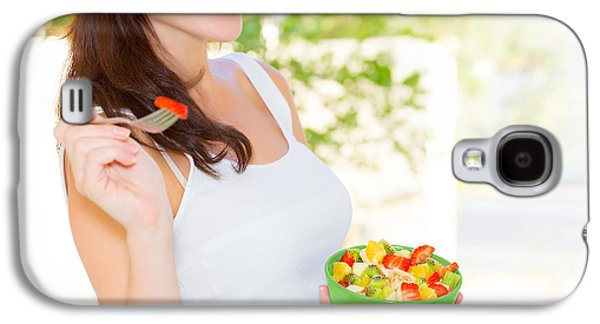 Person Galaxy S4 Cases - Pregnant woman eating salad Galaxy S4 Case by Anna Omelchenko
