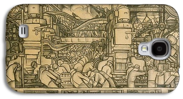 Pen And Ink Drawing Drawings Galaxy S4 Cases - Presentation drawing of the automotive panel for the north wall of the Detroit Industry Mural Galaxy S4 Case by Diego Rivera
