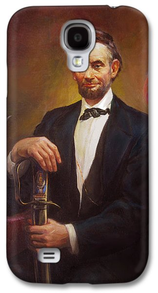 Democracy Paintings Galaxy S4 Cases - President Abraham Lincoln Galaxy S4 Case by Svitozar Nenyuk