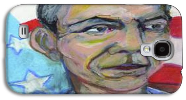 Barack Obama Mixed Media Galaxy S4 Cases - President Barack Obama  Galaxy S4 Case by Derrick Hayes
