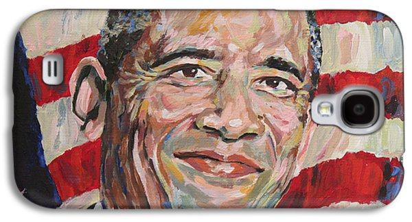 Best Sellers -  - Michelle Obama Paintings Galaxy S4 Cases - President Barack Obama Portrait Galaxy S4 Case by Robert Yaeger