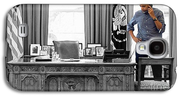 Owner Mixed Media Galaxy S4 Cases - President Barack Obama Galaxy S4 Case by Michael Braham