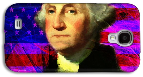 4th July Galaxy S4 Cases - President George Washington v2 m123 square Galaxy S4 Case by Wingsdomain Art and Photography