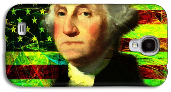 4th July Galaxy S4 Cases - President George Washington v2 p50 square Galaxy S4 Case by Wingsdomain Art and Photography