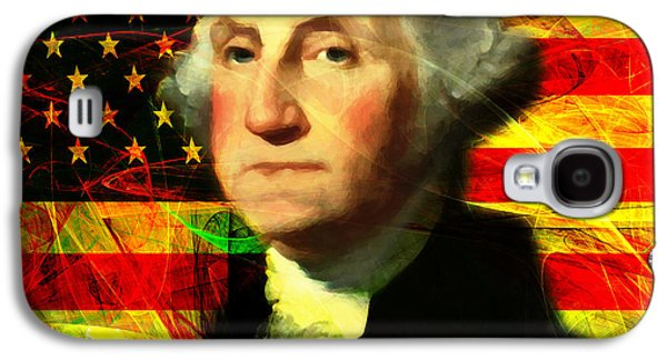 4th July Galaxy S4 Cases - President George Washington v2 square Galaxy S4 Case by Wingsdomain Art and Photography