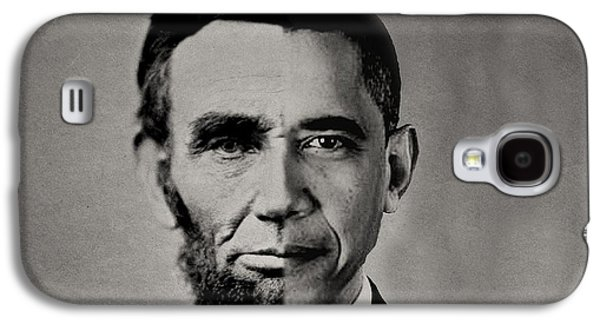 Barack Obama Mixed Media Galaxy S4 Cases - President Obama Meets President Lincoln Galaxy S4 Case by Michael Braham