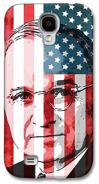 Government Mixed Media Galaxy S4 Cases - President Truman On American Flag Galaxy S4 Case by Dan Sproul