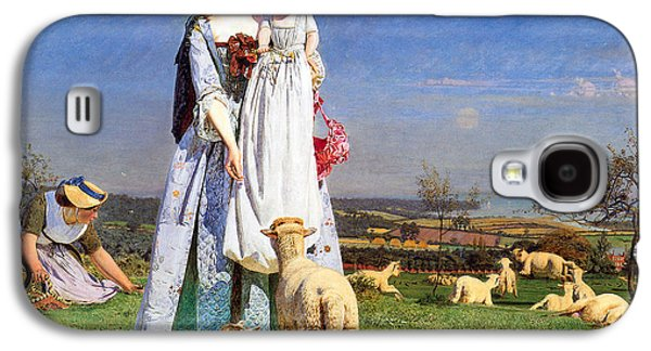 Sheep Digital Art Galaxy S4 Cases - Pretty Baby Lambs Galaxy S4 Case by Ford Madox Brown