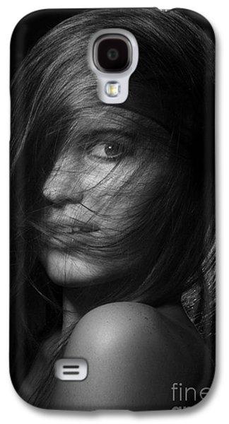 Hairstyle Digital Galaxy S4 Cases - Pretty Girl Monochrome Galaxy S4 Case by Aleksey Tugolukov