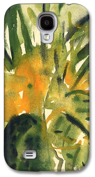 Green And Yellow Abstract Galaxy S4 Cases - Primroses Galaxy S4 Case by Claudia Hutchins-Puechavy