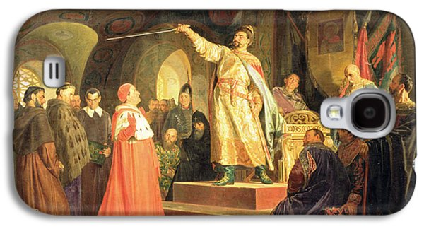 Court Galaxy S4 Cases - Prince Roman Of Halych-volhynia Receiving The Ambassadors Of Pope Innocent Iii, 1875 Oil On Canvas Galaxy S4 Case by Nikolai Vasilievich Nevrev