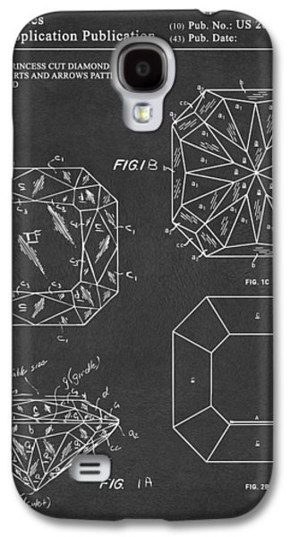 Princess Cut Diamond Patent Gray Galaxy S4 Case by Nikki Marie Smith