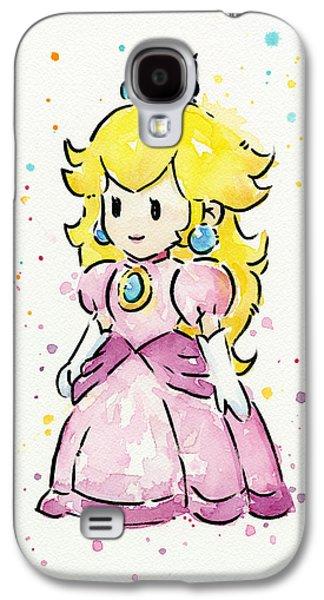Character Portraits Galaxy S4 Cases - Princess Peach Watercolor Galaxy S4 Case by Olga Shvartsur