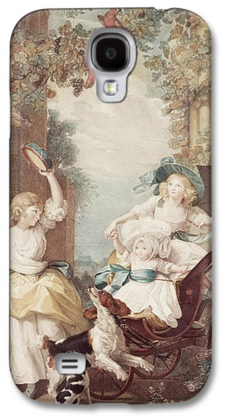 Playing Drawings Galaxy S4 Cases - Princesses Mary Sophia and Amelia daughters of George III Galaxy S4 Case by John Singleton Copley