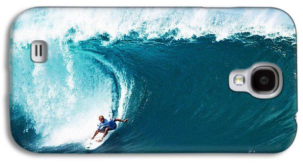 Ocean Art Photography Galaxy S4 Cases - Pro Surfer Kelly Slater Surfing in the Pipeline Masters Contest Galaxy S4 Case by Paul Topp
