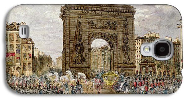 Celebration Photographs Galaxy S4 Cases - Procession Of Pope Pius Vii 1742-1823 In Paris, 28th November 1804 Coloured Engraving Galaxy S4 Case by French School