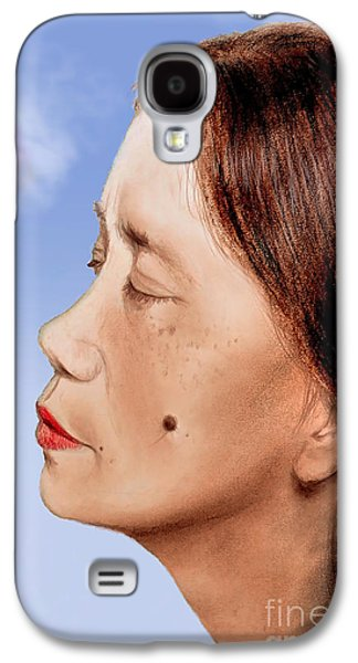 Beauty Mark Mixed Media Galaxy S4 Cases - Profile of a Filipina Beauty with a mole on Her Cheek Altered Version Galaxy S4 Case by Jim Fitzpatrick