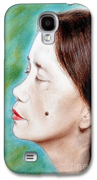 Beauty Mark Mixed Media Galaxy S4 Cases - Profile of a Filipina Beauty with a mole on Her Cheek  Galaxy S4 Case by Jim Fitzpatrick