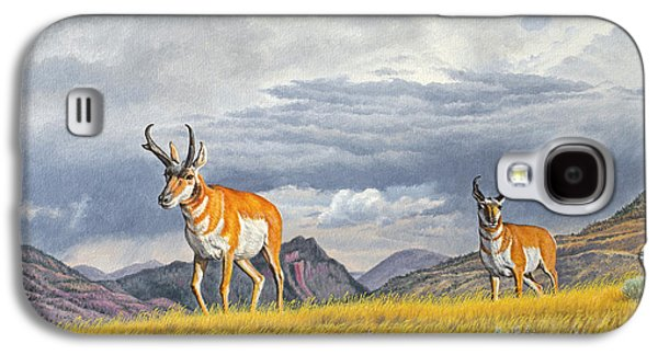 Slide Galaxy S4 Cases - Pronghorn-Coming over the Rise Galaxy S4 Case by Paul Krapf