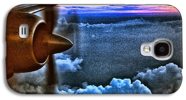 Passenger Plane Mixed Media Galaxy S4 Cases - Propeller Sunrise HDR Galaxy S4 Case by Bellesouth Studio