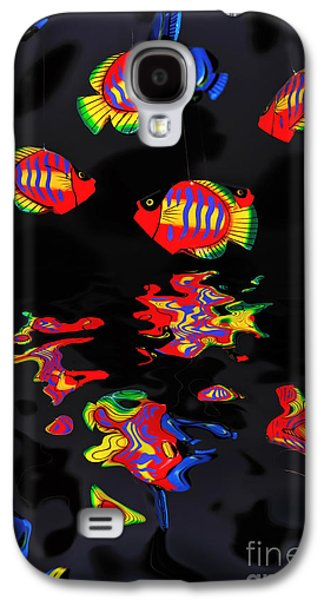 Wooden Fish Galaxy S4 Cases - Psychedelic Flying Fish with Psychedelic Reflections Galaxy S4 Case by Kaye Menner