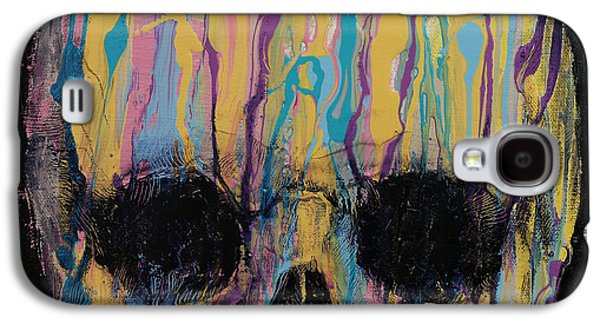 Drips Paintings Galaxy S4 Cases - Psychedelic Skull Galaxy S4 Case by Michael Creese