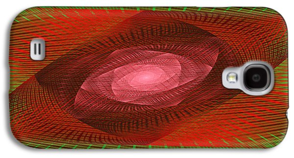 Flower Jewelry Galaxy S4 Cases - Psychedelic Spiral Vortex Green And Red Fractal Flame Galaxy S4 Case by Keith Webber Jr