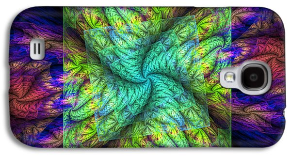 Round Galaxy S4 Cases - Psychedelic Spiral Vortex Green Blue And Pink Fractal Flame Galaxy S4 Case by Keith Webber Jr