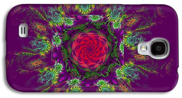 Round Galaxy S4 Cases - Psychedelic Spiral Vortex Purple Green And Pink Fractal Flame Galaxy S4 Case by Keith Webber Jr