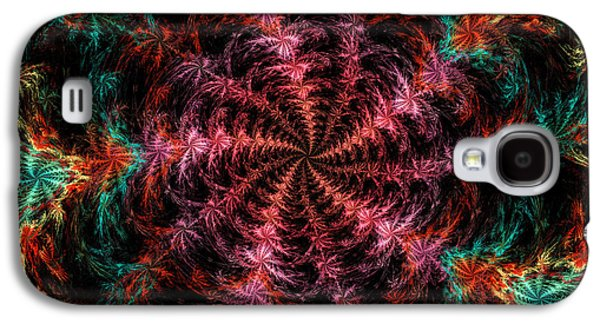 Round Galaxy S4 Cases - Psychedelic Spiral Vortex Purple Pink And Teal Fractal Flame Galaxy S4 Case by Keith Webber Jr