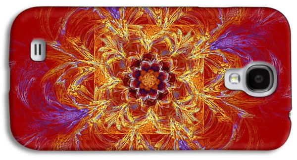 Flower Jewelry Galaxy S4 Cases - Psychedelic Spiral Vortex Red Orange And Blue Fractal Flame Galaxy S4 Case by Keith Webber Jr