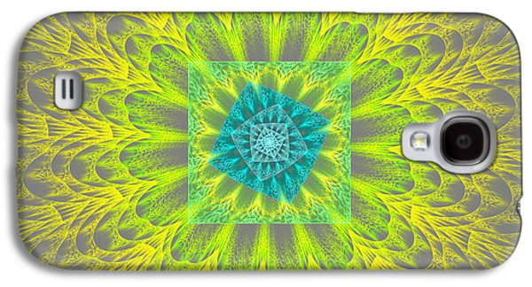 Round Galaxy S4 Cases - Psychedelic Spiral Vortex Yellow And Gray Fractal Flame Galaxy S4 Case by Keith Webber Jr