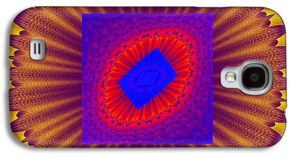 Round Galaxy S4 Cases - Psychedelic Spiral Vortex Yellow Blue And Red Fractal Flame Galaxy S4 Case by Keith Webber Jr