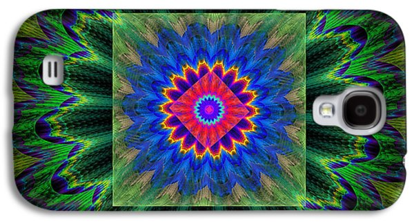 Round Galaxy S4 Cases - Psychedelic Square Vortex Purple Green Blue And Red Fractal Flame Galaxy S4 Case by Keith Webber Jr