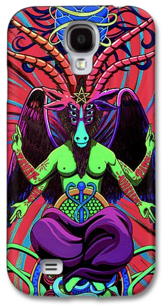 Tribe Paintings Galaxy S4 Cases - Psychtanic Baphodelic Super Goat on DMT Galaxy S4 Case by Steve Hartwell