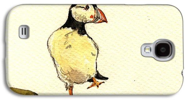 Seabirds Galaxy S4 Cases - Puffin bird Galaxy S4 Case by Juan  Bosco