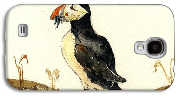 Seabirds Galaxy S4 Cases - Puffin with fishes Galaxy S4 Case by Juan  Bosco