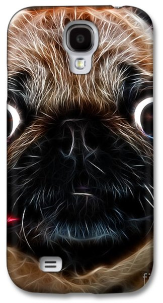 Puppy Digital Art Galaxy S4 Cases - Pug Dog - Electric Galaxy S4 Case by Wingsdomain Art and Photography