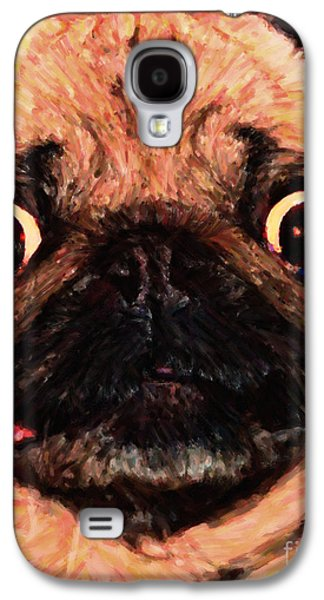 Fuzzy Digital Art Galaxy S4 Cases - Pug Dog - Painterly Galaxy S4 Case by Wingsdomain Art and Photography